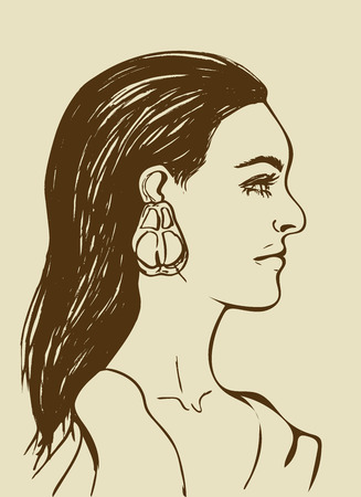 Beautiful  with long black hair.  face in profile. Fashion icon for Beauty salon. Profile of sensual young  on beige background. Brown line drawing. Isolated vector illustration. . Stok Fotoğraf