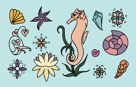 Sea horse, shells and doodle elements. Graphic sea life collection. Vector ocean creatures isolated on light blue background. Set of colorful drawings. Hand drawn illustration. Ilustração