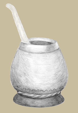 Calabash gourd and bombilla for Yerba Mate tea. Hand drawn graphics. Pencil sketch on beige. Healthy coffeine drink, strong stimulator, herbal hot traditional beverage in  South America, Argentina. Banco de Imagens