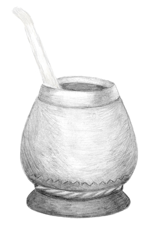 Calabash gourd and bombilla for Yerba Mate tea. Hand drawn graphics. Pencil sketch on white. Healthy coffeine drink, strong stimulator, herbal hot traditional beverage in  South America, Argentina. Фото со стока