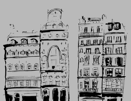 Ink sketch of buildings. Hand drawn illustration of Houses in the European Old town. Travel artwork. Black line drawing isolated on gray background. Banco de Imagens