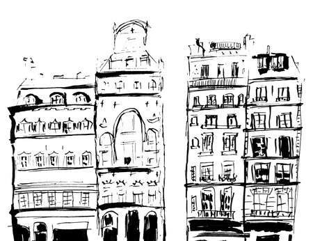 Ink sketch of buildings. Hand drawn illustration of Houses in the European Old town. Travel artwork. Black line drawing isolated on white background.