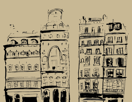 Ink sketch of buildings. Hand drawn illustration of Houses in the European Old town. Travel artwork. Black line drawing isolated on brown background. Фото со стока