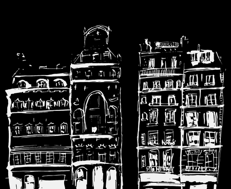 Ink sketch of buildings. Hand drawn illustration of Houses in the European Old town. Travel artwork.White line drawing isolated on black background. Фото со стока