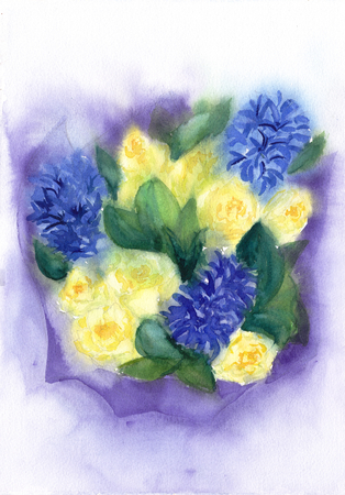 Romantic Bouquet of flowers. Yellow roses and blue hyacinth. Watercolor floral illustration.Wet on wet technique. For invitation, wedding, save the date and greeting card. Banco de Imagens