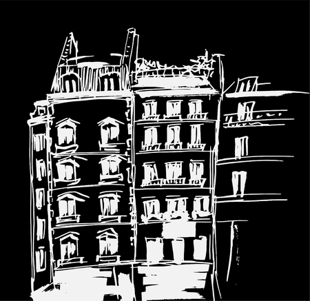 Ink sketch of buildings. Hand drawn vector illustration of Houses in the European Old town. Travel artwork. White line drawing isolated on black background. Фото со стока
