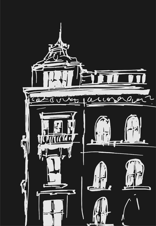 Ink sketch of buildings. Hand drawn vector illustration of Houses in the European Old town. Travel artwork. White line drawing isolated on dark gray background. Chalkboard imitation.
