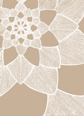 Zentangle abstract flower. Decorative flower. Hand drawn illustration. Ornament for Greeting Card. White lines on light beige background. Doodle drawing. Abstract floral design.