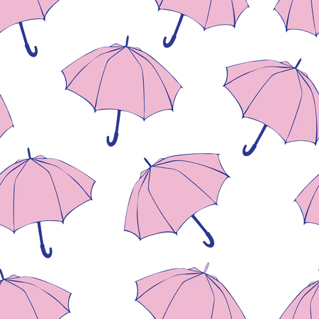 Seamless pattern with doodle umbrellas. For fabric, textile, wallpaper, wrapping paper. Vector Illustration. Hand drawn sketch. Pink elements on white background. Banco de Imagens
