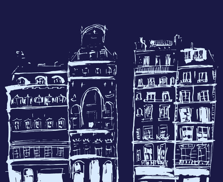 Ink sketch of buildings. Hand drawn illustration of Line drawing isolated on blue background.