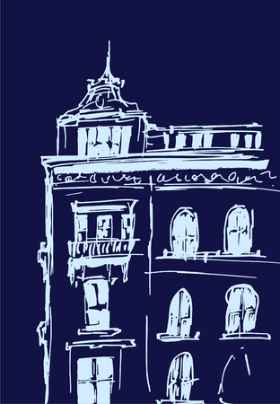 Ink sketch of buildings. Hand drawn vector illustration of Houses in the European Old town. Travel artwork. Line drawing isolated on dark blue background.