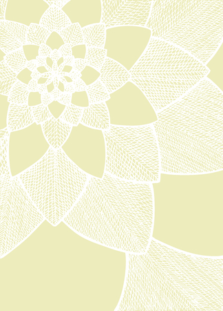 Zentangle abstract flower. Decorative flower. Hand drawn illustration. Ornament for Greeting Card. White lines on light yellow background. Doodle drawing. Abstract floral design. Ilustração