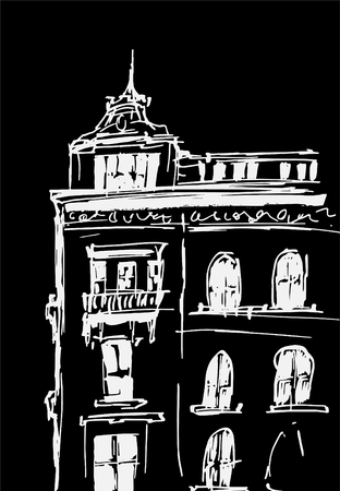 Ink sketch of buildings. Hand drawn vector illustration of Houses in the European Old town. Travel artwork. White line drawing isolated on black background. Ilustração