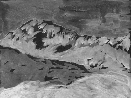Mountains and hills. Gray colors grisaille. Hand drawn illustration. For card, postcard, poster.