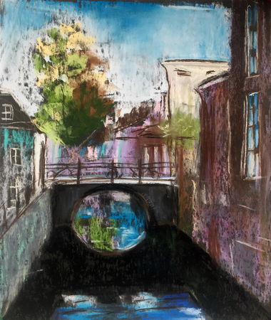 View of vintage stone houses and bridge over canal. Old European town. Hand drawn illustration. Pastel technics. Фото со стока