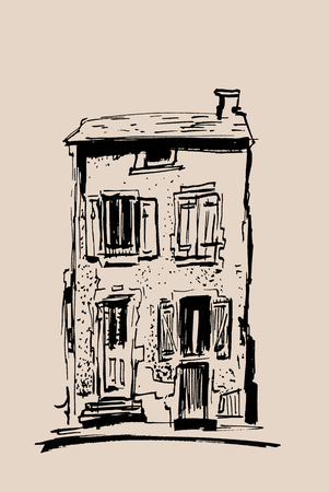 Ink sketch of buildings. Hand drawn illustration of Houses in the European Old town. Travel artwork. Black line drawing isolated on beige background.