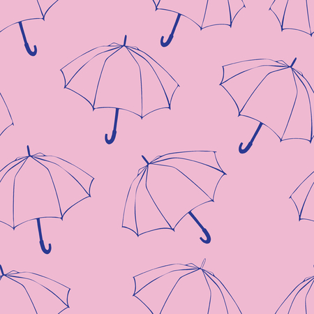 Seamless pattern with doodle umbrellas. For fabric, textile, wallpaper, wrapping paper. Vector Illustration. Hand drawn sketch. Blue line drawing on pink background.