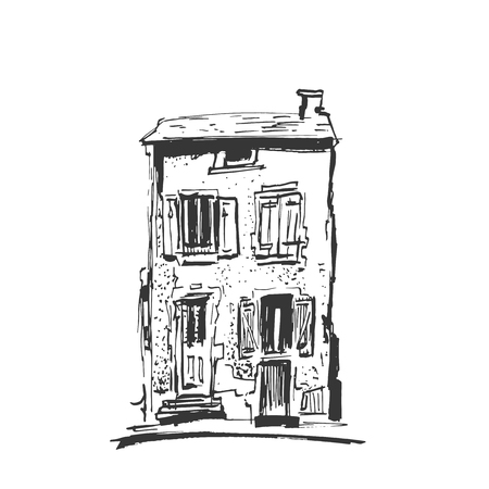 Ink sketch of buildings. Hand drawn vector illustration of Houses in the European Old town. Travel artwork. Line drawing isolated on light gray background. Banco de Imagens