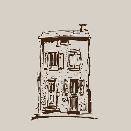 Ink sketch of buildings. Hand drawn vector illustration of Houses in the European Old town. Travel artwork. Brown Line drawing isolated on light beige background.