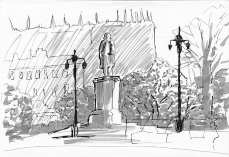 Monument stand with lanterns in park. Street view postcard. Markers and liner technics. Graphic illustration. Hand drawn sketch. Black, white, gray colors. Фото со стока