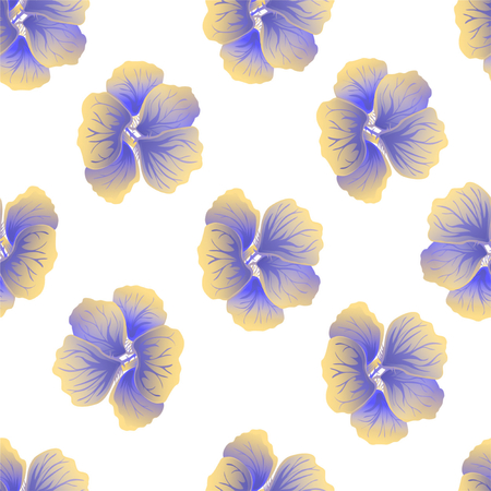 Seamless wild floral pattern with nasturtium. Hibiscus flowers on white background. Botanical Motifs scattered random. Texture for fashion print. Beautiful exotic plant. Vector illustration.
