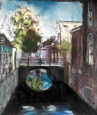 View of vintage stone houses and bridge over canal. Old European town. Hand drawn illustration. Pastel technics. Stock Photo