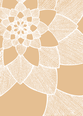 abstract flower. Decorative flower. Hand drawn illustration. Ornament for Greeting Card. White lines on caramel beige background. Doodle drawing. Abstract floral design.