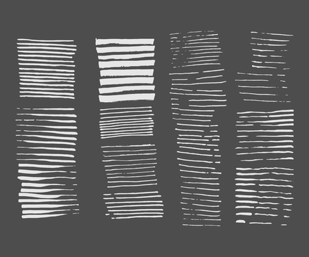 Abstract grunge design. Striped texture. Vector illustration set. Paintbrush line. Paint�Stripes backdrop.�Dry�Brush Stroke and stretches. Isolated textured shape.�Hand painted. Modern rough style.
