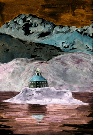 Lighthouse on island. Mountains and hills on background. Watercolor painting. Hand drawn illustration. For card, postcard, poster.