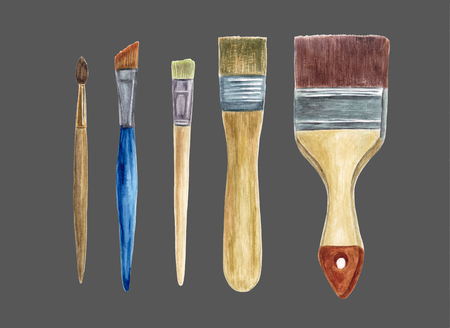 Set of Paint Brushes isolated on light dark background. Art supplies. Tools for painting. Hand drawn watercolor illustration.