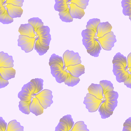 Seamless wild floral pattern with nasturtium. Hibiscus flowers background. Botanical Motifs scattered random. Texture for fashion print. Beautiful exotic plant. Vector illustration. Purple colors.