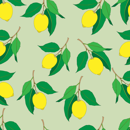 Seamless pattern with lemons  isolated on green background. Yellow fresh Fruits with green leaves. Summer design. Colorful wallpaper. Vector illustration.