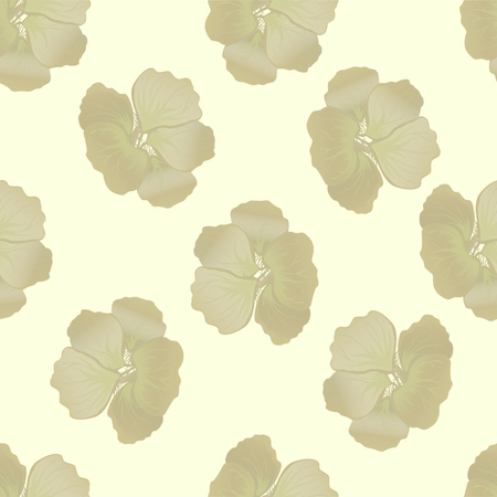 Seamless wild floral pattern with nasturtium. Hibiscus flowers background. Botanical Motifs scattered random. Texture for fashion print. Beautiful exotic plant. Vector illustration. Yellow colors.