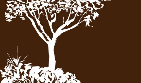 White Tree silhouette isolated on brown background. Sumi-e, u-sin, gohua painting style. Stylized Inked drawing. Hand drawn vector illustration. 矢量图像