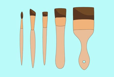 Different paint brushes isolated on blue background. Art tools set vector illustration