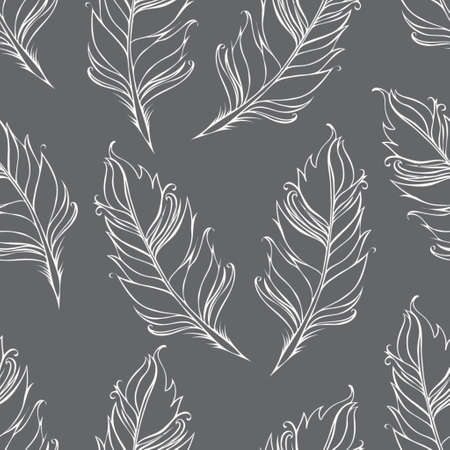 Feather isolated on Green background. Seamless pattern. Vector illustration
