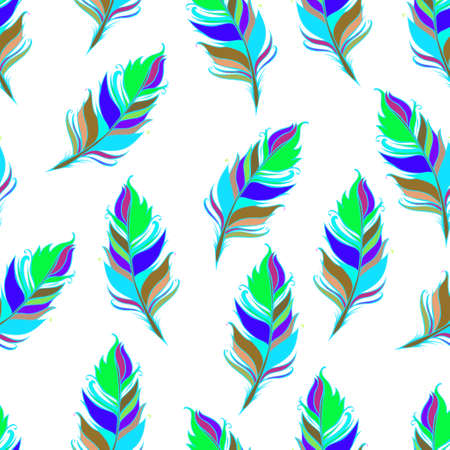 Bright feather print. White background. Summer Seamless pattern. Colorful Vector illustration  イラスト・ベクター素材