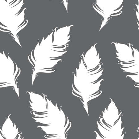 White feather silhouette isolated on gray background. Seamless pattern. Vector illustration