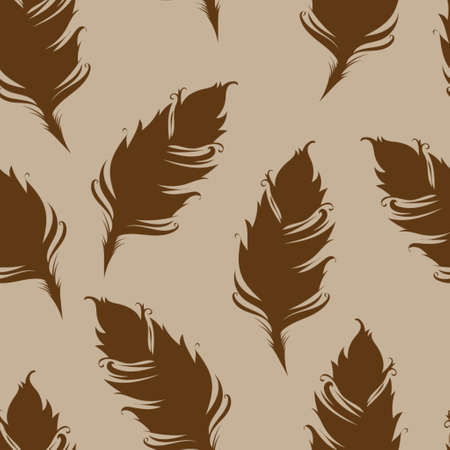 Feather silhouette isolated. Brown and beige colors. Seamless pattern. Vector illustration