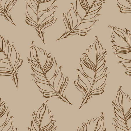 Feather isolated. Seamless pattern. Vector illustration. Brown and beige colors