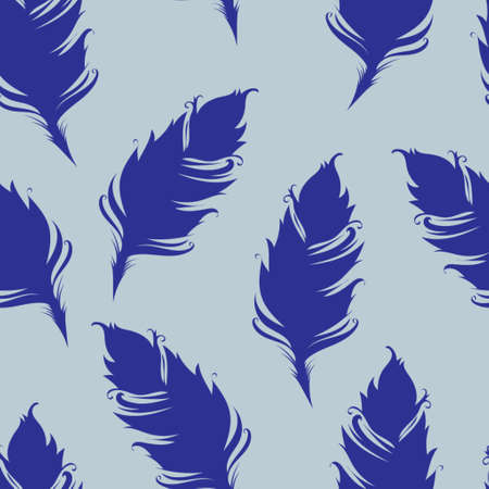 Feather silhouette isolated on Blue background. Seamless pattern. Vector illustration.  イラスト・ベクター素材
