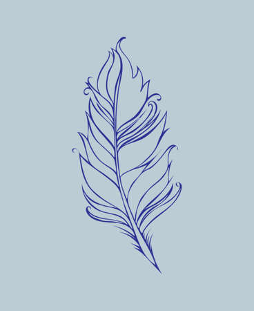 Feather isolated. Vector illustration. Lined drawing in Blue colors.  イラスト・ベクター素材