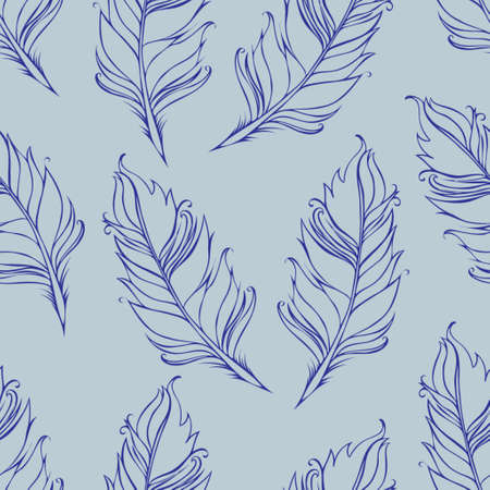 Feather isolated. Seamless pattern. Vector illustration in Blue colors.