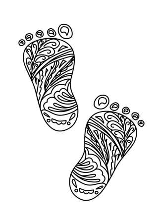Human Foot print Illustration. Design element isolated on white background. Can be used as coloring book page.