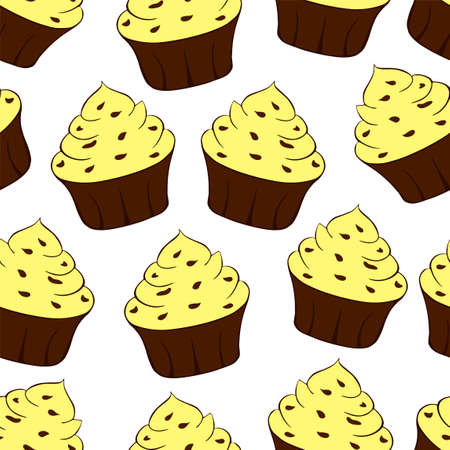 Cupcakes with chocolate sprinkles isolated on white background. Sweet Dessert with yellow cream. Lemon, banana or vanilla taste. Seamless pattern.Vector illustration