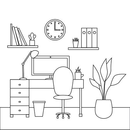 Design vector illustration of modern home office interior with designer desktop. Working from home concept. Workplace on white background. Workspace of a creative entrepreneur