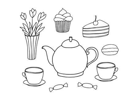 Doodle tea time collection. Teapot, cups, cakes, sweets, vase with flowers. Hand drawn set. Vector illustration. Black Lind elements isolated on white background Vettoriali