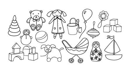 A set of cute toys for little girl. Hand drawn doodle set of elements. Black outline isolated on white background. Vector illustration