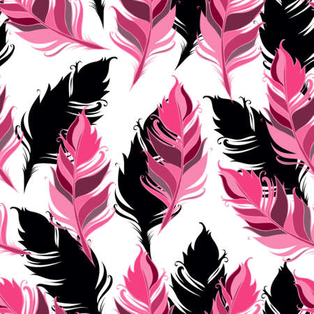 Pink and black feathers on White background. Seamless pattern. Vector illustration