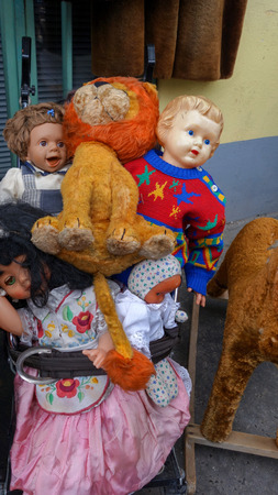 Market stall in Budapest, Hungary, selling childrens toys, dolls and teddies